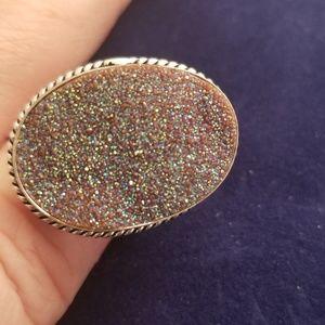 Arora borialis drutzy and sterling silver ring